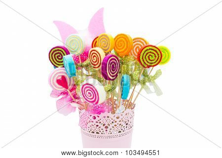 Vase Of Fake Flowers With Different Colors. Delight In A Basket.
