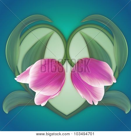Beautiful Heart Of The Pink Tulips. Fresh Spring Banner. Love Card.