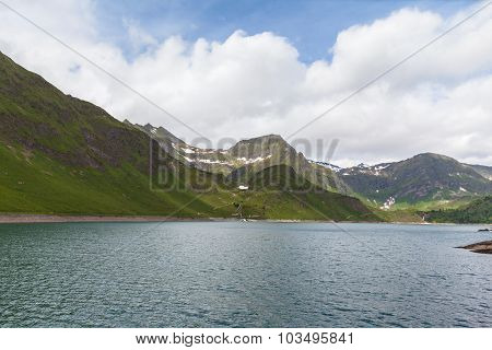 Lake Of Ritom And The Alps In Ticino, Switzerland