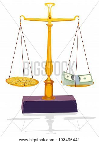 vector unbalanced silver scale with money
