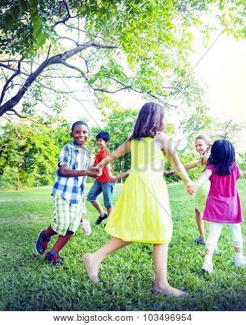 Group of Children Holding Hands Togetherness Concept