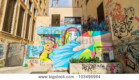 Street Art And Graffiti On Wall In Potenza, Italy