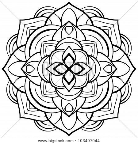 Vector Mandala For Coloring Book.