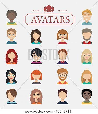 Set of avatars. Vector illustration, flat icons