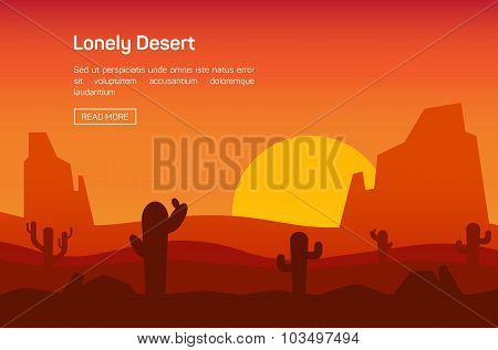 Horizontal banner with lonely desert