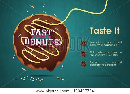 Poster vector template with donuts