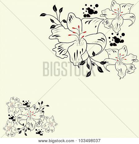 Vintage invitation card with elegant abstract floral design