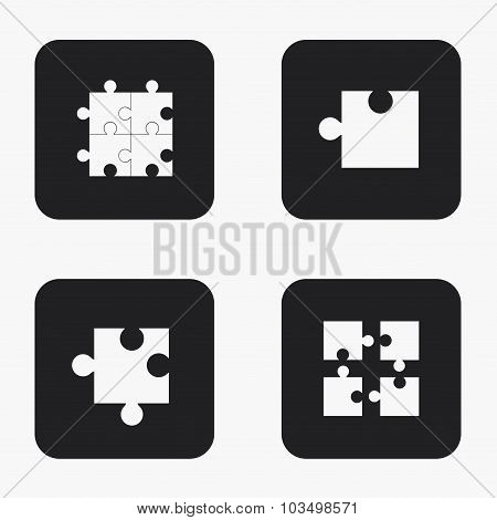 Vector modern puzzle  icons set