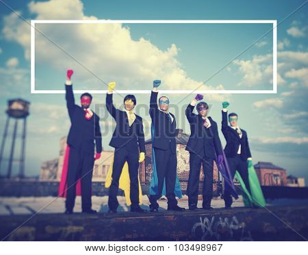 Superhero Businessmen Industrial Outdoor Fist Concept