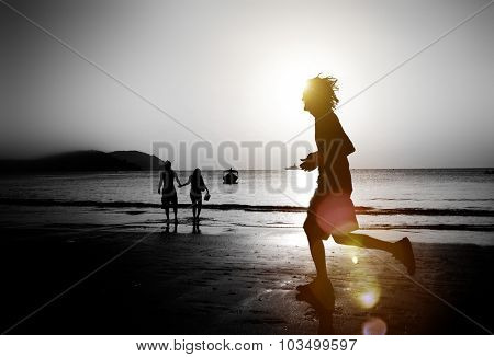 Jogging Beach Sunset Exercise Beach Silhouette Concept