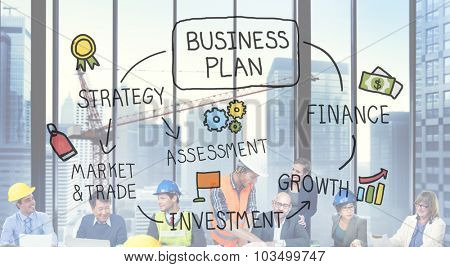 Business Plan Strategy Marketing Vision Finance Growth Concept
