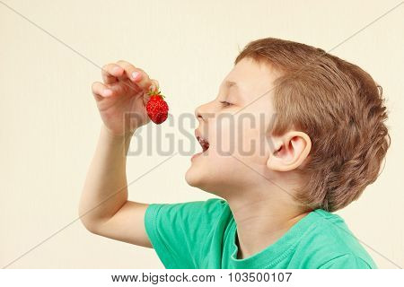 Little funny boy eating fresh sweet strawberry