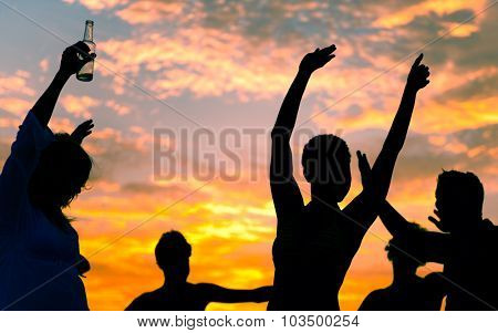 Summer Beach Party Sunset Vacation Happiness Concept