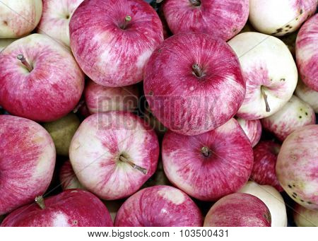 Background Of Big Red Ripe Apples