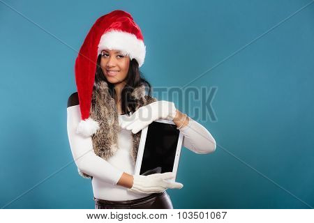 Woman Mixed Race With Tablet