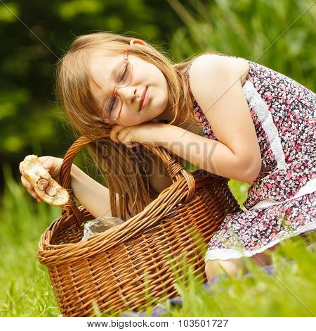 Funny Hungry Little Girl Having Picnic In Park