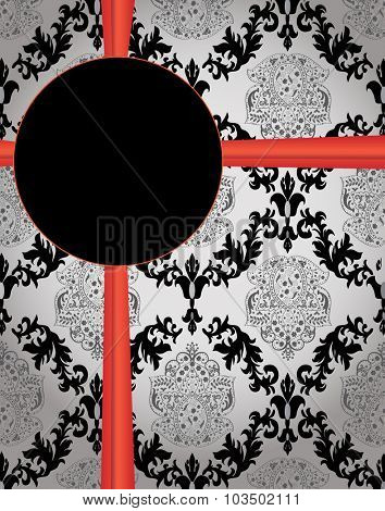 Vintage invitation card with ornate elegant abstract floral design, black on gray with ribbon. Vector illustration.