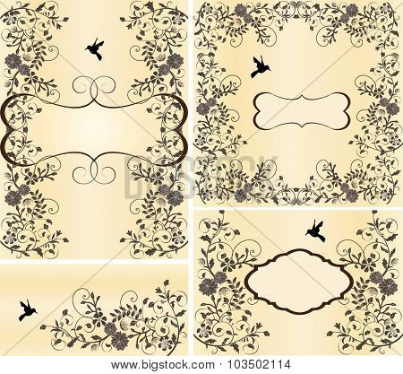 Set of four (4) vintage invitation cards with ornate elegant retro abstract floral design