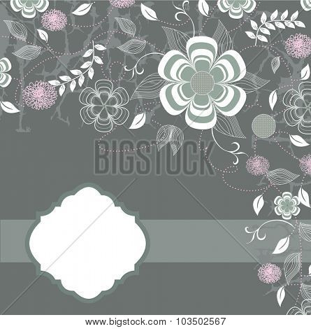 Vintage invitation card with ornate elegant retro abstract floral design, green and pink flowers on gray with ribbon. Vector illustration.