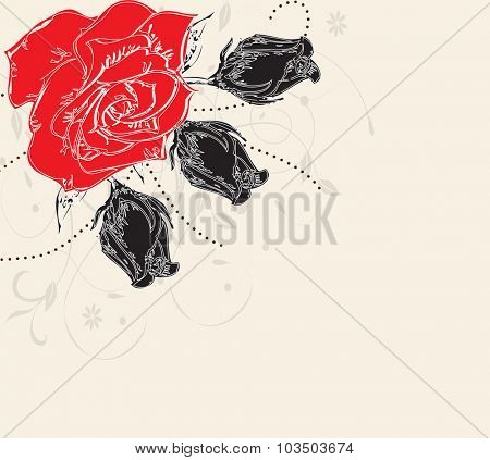 Vintage invitation card with elegant retro abstract floral design with roses