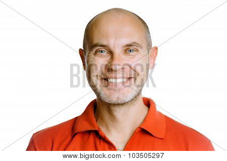 Smiling Man. Isolated On White. Studio