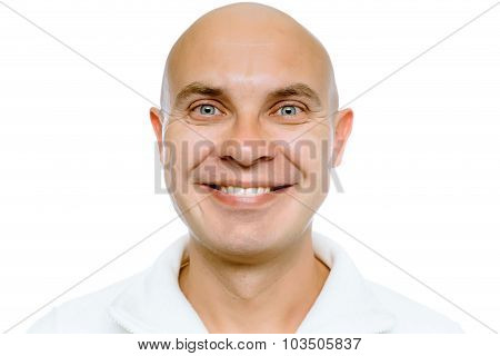 Bald Smiling Man. Isolated. Studio