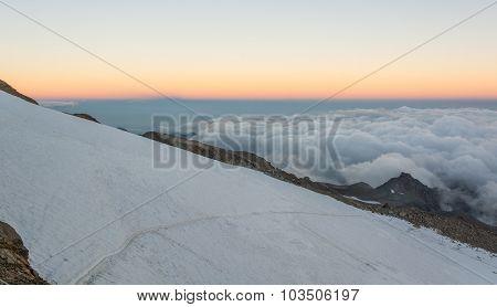Glacier slope at sunset.