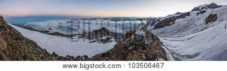 Mountain panorama at dusk.