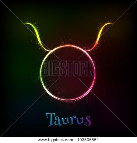 Shining neon zodiac Taurus vector symbol