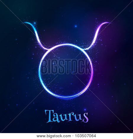 Blue shining cosmic neon zodiac Taurus symbol