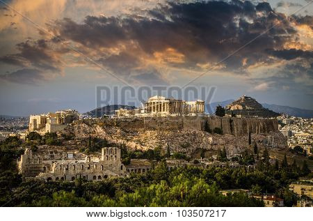 Parthenon Temple On Athenian Acropolis, Athens, Greece