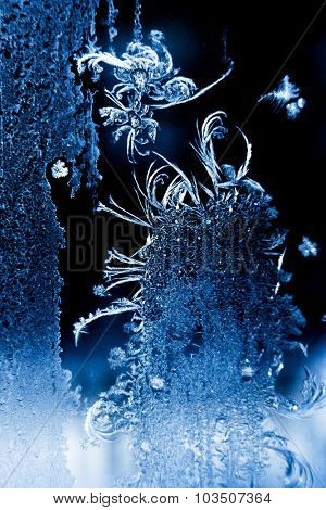 Winter picture. Frost on the window