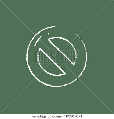 Not allowed sign hand drawn in chalk on a blackboard vector white icon isolated on a green background.