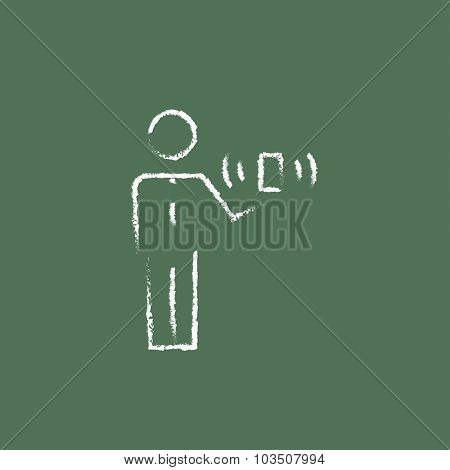 Mobility hand drawn in chalk on a blackboard vector white icon isolated on a green background.