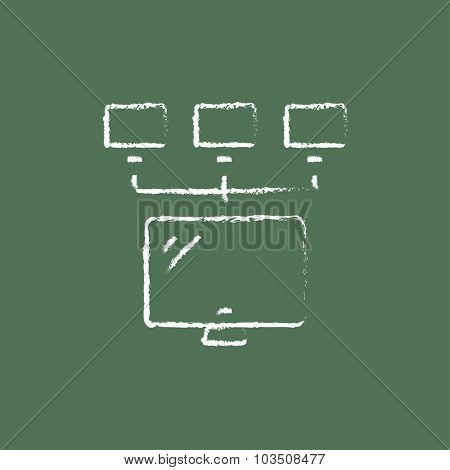 Group of monitors hand drawn in chalk on a blackboard vector white icon isolated on a green background.
