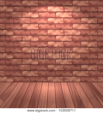 Brown brick wall with wooden floor, empty room interior with lig