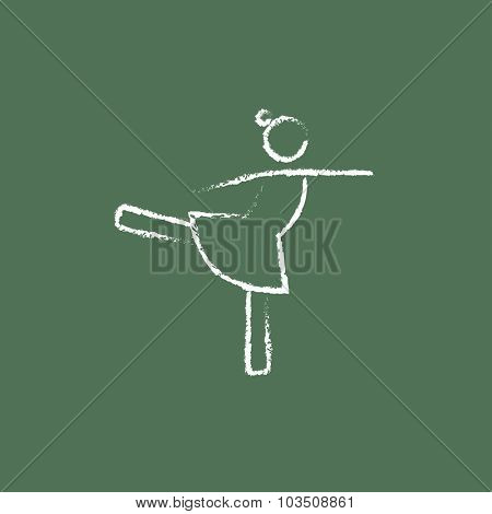 Female dancer hand drawn in chalk on a blackboard vector white icon isolated on a green background.