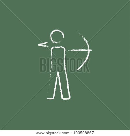 Archer with bow hand drawn in chalk on a blackboard vector white icon isolated on a green background.