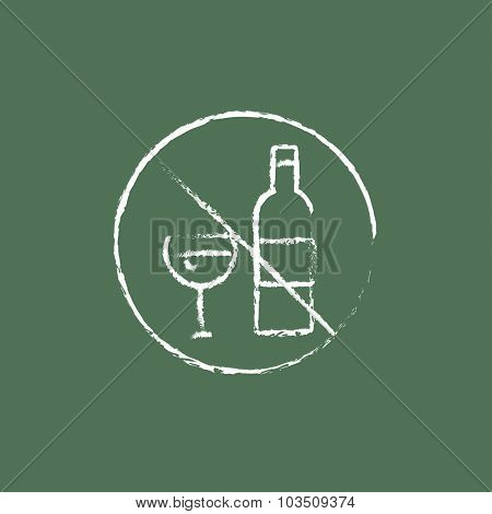 No alcohol sign hand drawn in chalk on a blackboard vector white icon isolated on a green background.