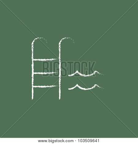 Swimming pool with ladder hand drawn in chalk on a blackboard vector white icon isolated on a green background.