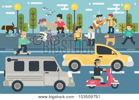 Lifestyle Free Time  Elements Vector Flat Illustration