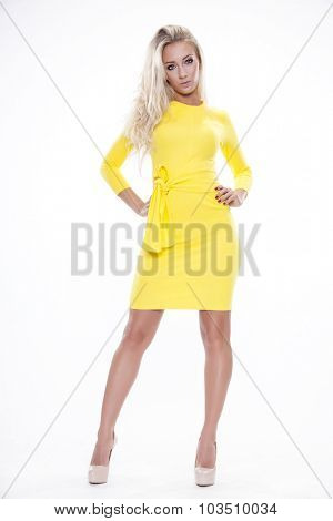 Portrait of beautiful young adult attractive happy smiling woman dressed, Isolated on white background
