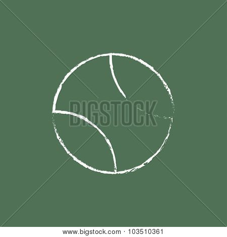 Tennis ball hand drawn in chalk on a blackboard vector white icon isolated on a green background.