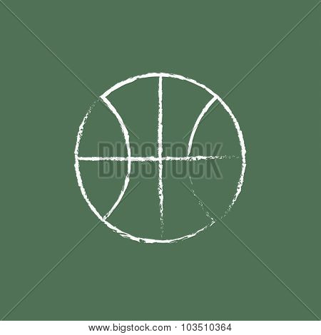 Basketball ball hand drawn in chalk on a blackboard vector white icon isolated on a green background.