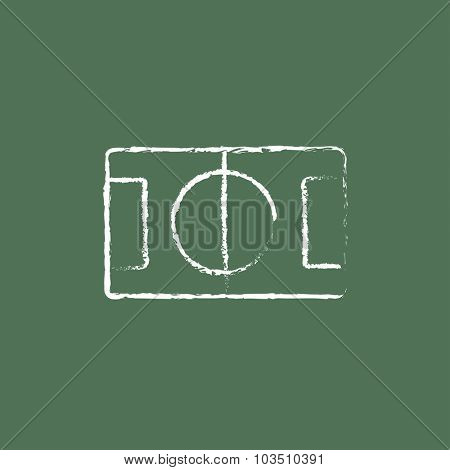 Stadium layout hand drawn in chalk on a blackboard vector white icon isolated on a green background.