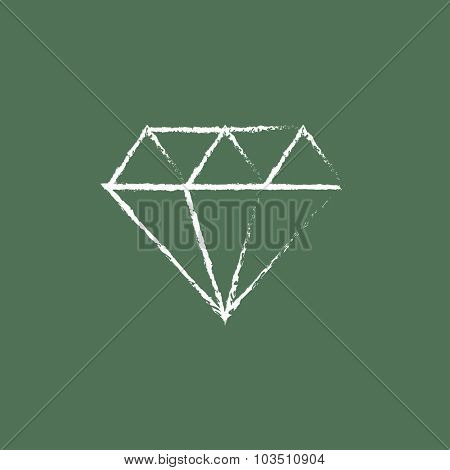 Diamond hand drawn in chalk on a blackboard vector white icon isolated on a green background.