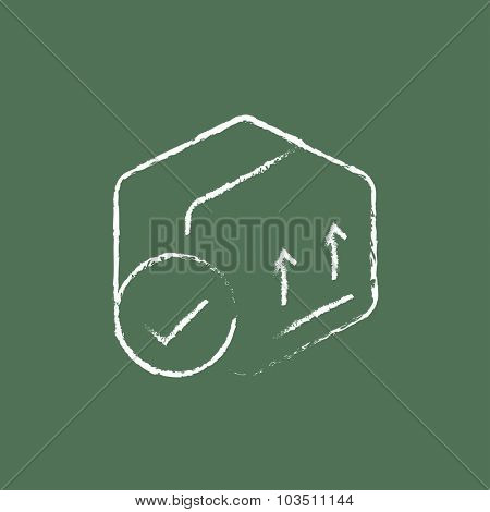 Box with two arrows hand drawn in chalk on a blackboard vector white icon isolated on a green background.