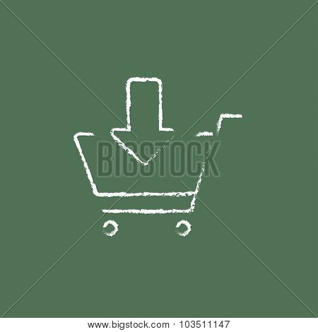 Online shopping cart hand drawn in chalk on a blackboard vector white icon isolated on a green background.