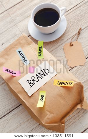 Branding Marketing Concept With Paper Bag And Coffee