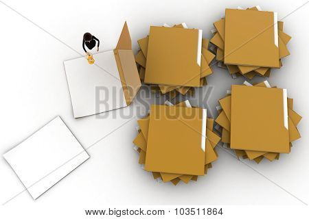 3D Woman Looking Or Searching  Into Files Concept